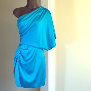CACHE sz 2 turquoise one sleeve silk dress